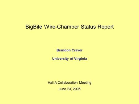 BigBite Wire-Chamber Status Report Brandon Craver University of Virginia Hall A Collaboration Meeting June 23, 2005.