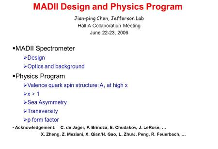 MADII Design and Physics Program Jian-ping Chen, Jefferson Lab Hall A Collaboration Meeting June 22-23, 2006 MADII Spectrometer Design Optics and background.