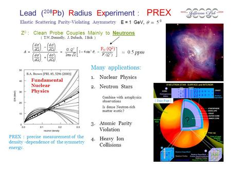 Lead ( 208 Pb) Radius Experiment : PREX E = 1 GeV, Elastic Scattering Parity-Violating Asymmetry PREX : precise measurement of the density -dependence.