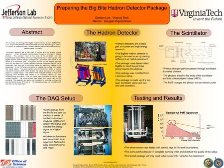 Preparing the Big Bite Hadron Detector Package Gordon Lott, Virginia Tech Mentor: Douglas Higinbotham All the signals from the PMTs are sent via cable.
