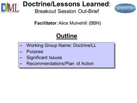 Doctrine/Lessons Learned: Breakout Session Out-Brief –Working Group Name: Doctrine/LL –Purpose –Significant Issues –Recommendations/Plan of Action –Working.