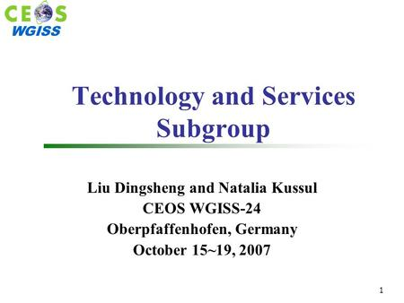 WGISS 1 Technology and Services Subgroup Liu Dingsheng and Natalia Kussul CEOS WGISS-24 Oberpfaffenhofen, Germany October 15~19, 2007.
