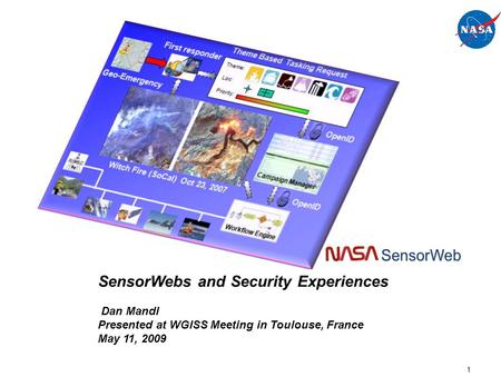 1 SensorWebs and Security Experiences Dan Mandl Presented at WGISS Meeting in Toulouse, France May 11, 2009.
