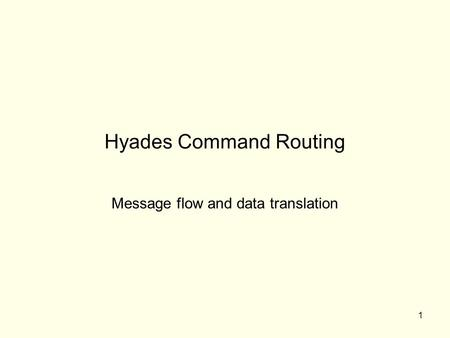 1 Hyades Command Routing Message flow and data translation.