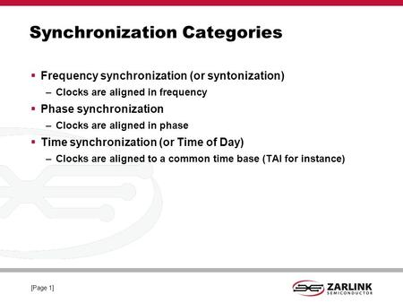 IEEE-1588 TM Profiles. [Page 1] Synchronization Categories Frequency synchronization (or syntonization) –Clocks are aligned in frequency Phase synchronization.