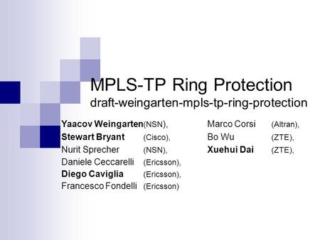 MPLS-TP Ring Protection draft-weingarten-mpls-tp-ring-protection