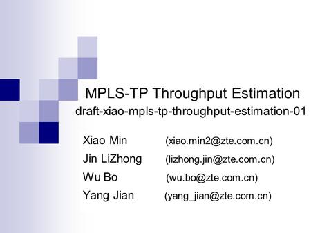 MPLS-TP Throughput Estimation