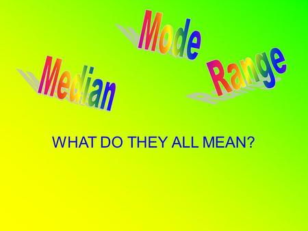WHAT DO THEY ALL MEAN?. Median Is the number that is in the middle of a set of numbers. (If two numbers make up the middle of a set of numbers then the.