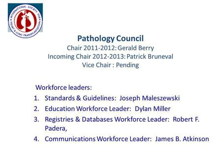 Pathology Council Chair 2011-2012: Gerald Berry Incoming Chair 2012-2013: Patrick Bruneval Vice Chair : Pending Workforce leaders: 1.Standards & Guidelines: