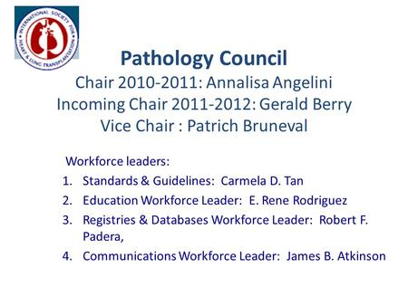 Pathology Council Chair 2010-2011: Annalisa Angelini Incoming Chair 2011-2012: Gerald Berry Vice Chair : Patrich Bruneval Workforce leaders: 1.Standards.