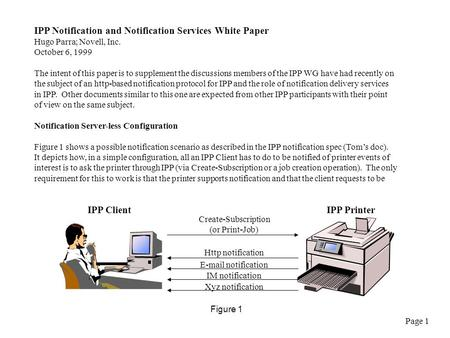 IPP Notification and Notification Services White Paper Hugo Parra; Novell, Inc. October 6, 1999 The intent of this paper is to supplement the discussions.