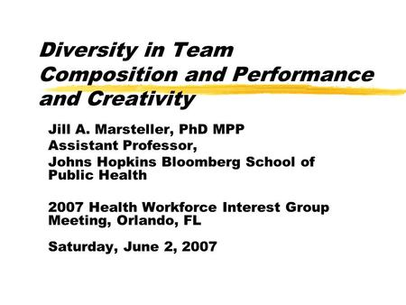 Diversity in Team Composition and Performance and Creativity