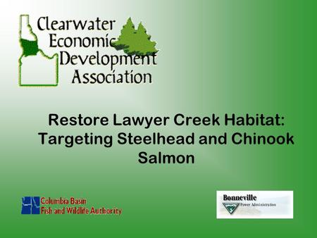 Restore Lawyer Creek Habitat: Targeting Steelhead and Chinook Salmon.
