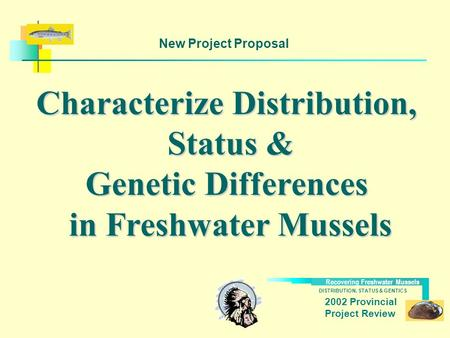 DISTRIBUTION, STATUS & GENTICS Recovering Freshwater Mussels 2002 Provincial Project Review Characterize Distribution, Status & Genetic Differences in.