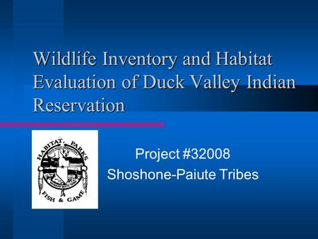 Wildlife Inventory and Habitat Evaluation of Duck Valley Indian Reservation Project #32008 Shoshone-Paiute Tribes.