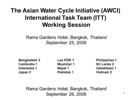1 The Asian Water Cycle Initiative (AWCI) International Task Team (ITT) Working Session Rama Gardens Hotel, Bangkok, Thailand September 25, 2006 Bangladesh.