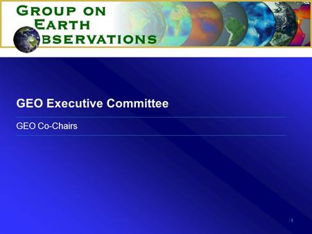|1|1 GEO Executive Committee GEO Co-Chairs. |2|2 12 Member Executive Committee Regional representations –Africa (2) –Americas (3) –Asia and Oceania (3)