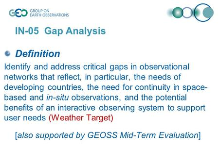 IN-05 Gap Analysis Definition Identify and address critical gaps in observational networks that reflect, in particular, the needs of developing countries,