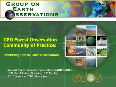 GEO Forest Observation Community of Practice: Identifying Critical Earth Observations Michael Brady, Canadian Forest Service/GOFC-GOLD GEO User Interface.