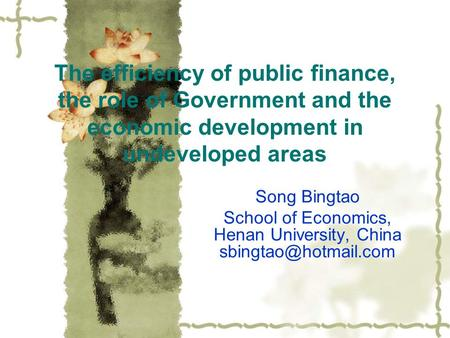The efficiency of public finance, the role of Government and the economic development in undeveloped areas Song Bingtao School of Economics, Henan University,