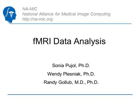 NA-MIC National Alliance for Medical Image Computing  fMRI Data Analysis Sonia Pujol, Ph.D. Wendy Plesniak, Ph.D. Randy Gollub, M.D.,