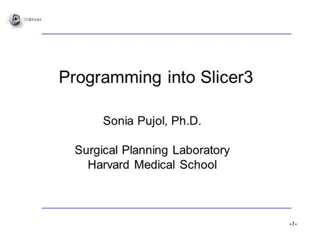 Slicer3 for developers – Sonia Pujol, Ph.D. -1- National Alliance for Medical Image Computing Programming into Slicer3 Sonia Pujol, Ph.D. Surgical Planning.