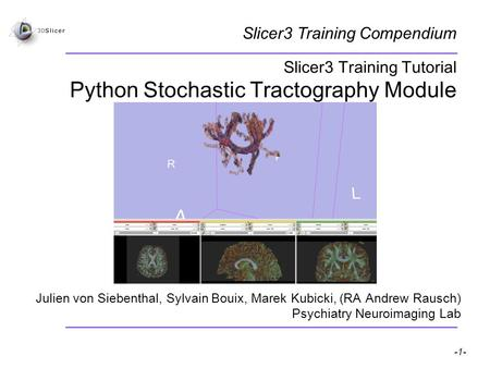 Pujol S, Gollub R -1- National Alliance for Medical Image Computing Slicer3 Training Tutorial Python Stochastic Tractography Module Julien von Siebenthal,