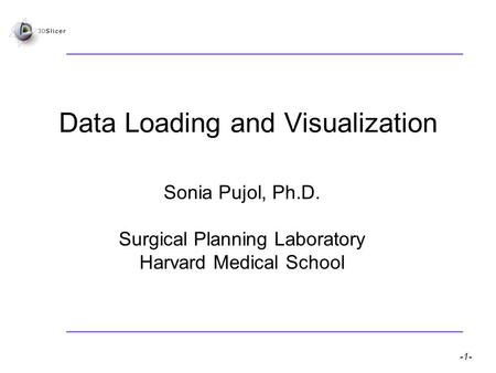 Pujol S, Gollub R -1- National Alliance for Medical Image Computing Data Loading and Visualization Sonia Pujol, Ph.D. Surgical Planning Laboratory Harvard.