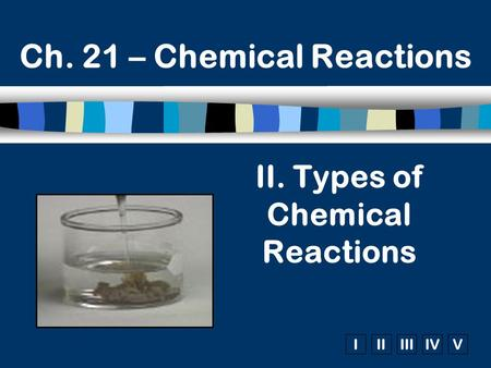 IIIIIIIVV Ch. 21 – Chemical Reactions II. Types of Chemical Reactions.