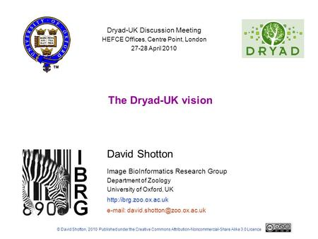 David Shotton Image BioInformatics Research Group Department of Zoology University of Oxford, UK  The Dryad-UK vision © David Shotton,