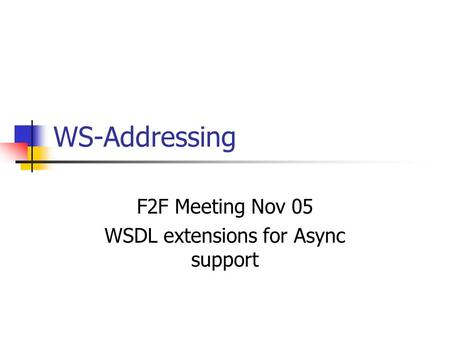 WS-Addressing F2F Meeting Nov 05 WSDL extensions for Async support.