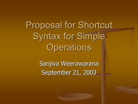 Proposal for Shortcut Syntax for Simple Operations Sanjiva Weerawarana September 21, 2003.