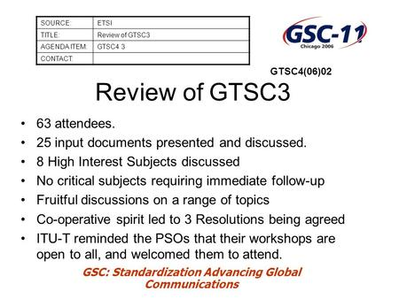GSC: Standardization Advancing Global Communications Review of GTSC3 63 attendees. 25 input documents presented and discussed. 8 High Interest Subjects.