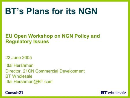 BTs Plans for its NGN EU Open Workshop on NGN Policy and Regulatory Issues 22 June 2005 Ittai Hershman Director, 21CN Commercial Development BT Wholesale.