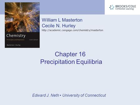 Chapter 16 Precipitation Equilibria