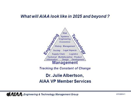2/13/2014 1 Engineering & Technology Management Group What will AIAA look like in 2025 and beyond ? Dr. Julie Albertson, AIAA VP Member Services Engineering.