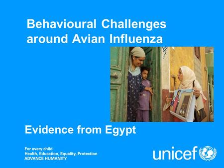 Behavioural Challenges around Avian Influenza Evidence from Egypt.