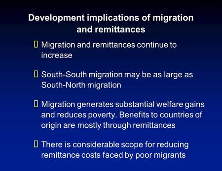 Economic Implications of Remittances and Migration Dilip Ratha World Bank Global Issues Seminar Series October 11, 2006.