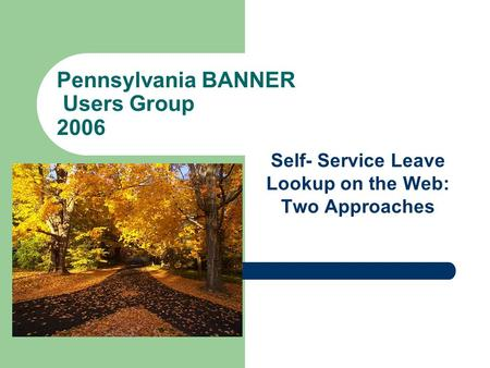 Pennsylvania BANNER Users Group 2006 Self- Service Leave Lookup on the Web: Two Approaches.