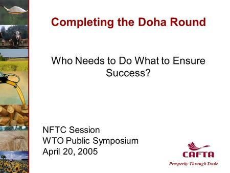 Completing the Doha Round Who Needs to Do What to Ensure Success? NFTC Session WTO Public Symposium April 20, 2005 Prosperity Through Trade.
