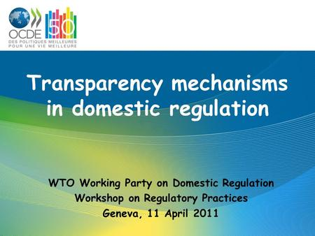 Transparency mechanisms in domestic regulation WTO Working Party on Domestic Regulation Workshop on Regulatory Practices Geneva, 11 April 2011.
