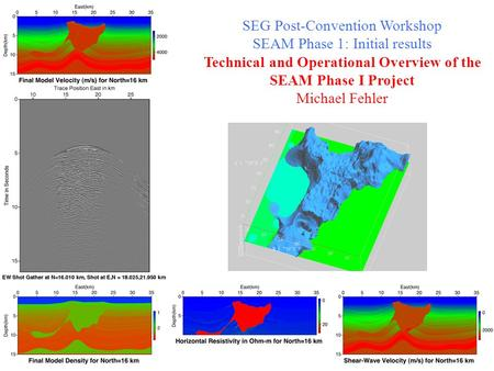 SEG Post-Convention Workshop SEAM Phase 1: Initial results Technical and Operational Overview of the SEAM Phase I Project Michael Fehler.