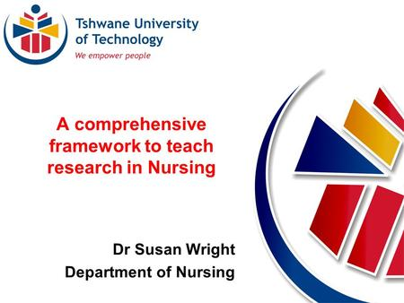 A comprehensive framework to teach research in Nursing Dr Susan Wright Department of Nursing.