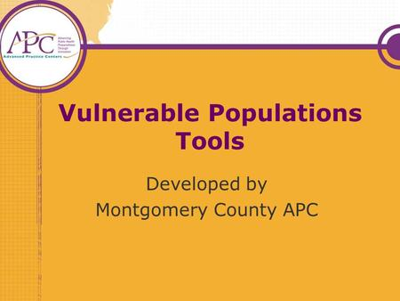 Vulnerable Populations Tools