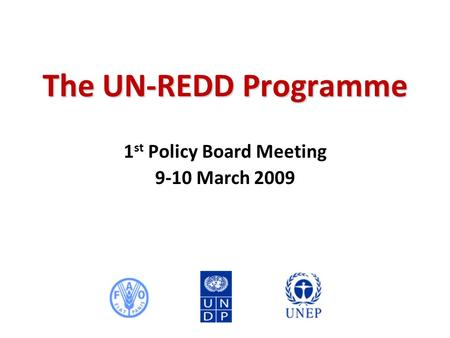 The UN-REDD Programme 1 st Policy Board Meeting 9-10 March 2009.
