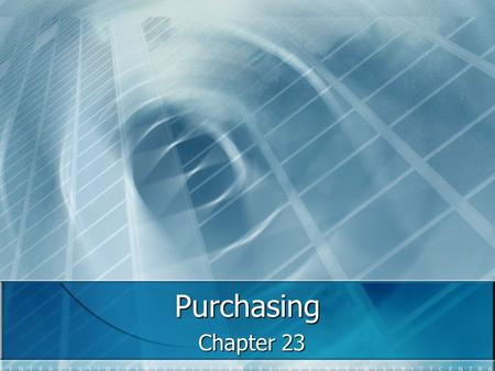 Purchasing Chapter 23.