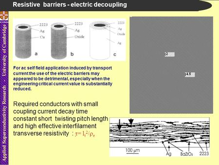 Applied Superconductivity Research - University of Cambridge B.A.Glowacki Resistive barriers - electric decoupling For ac self field application induced.