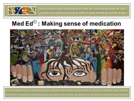 Med Ed : Making sense of medication. Todays presentation Background and context Resource development Description Using Med Ed Training Evaluation Next.