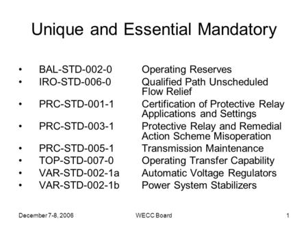 December 7-8, 2006WECC Board1 Unique and Essential Mandatory BAL-STD-002-0 Operating Reserves IRO-STD-006-0 Qualified Path Unscheduled Flow Relief PRC-STD-001-1Certification.