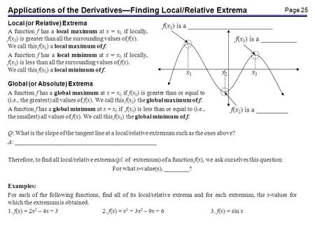 Finding The Absolute Extreme Values Of Functions Ppt